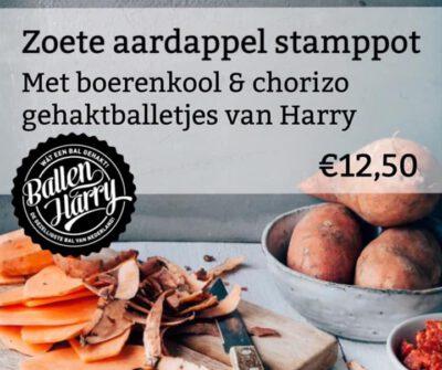 Zoete aardappels met ballen van Harry!
